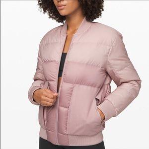 Lululemon Pink Roam Far Wool Down Bomber Coat New